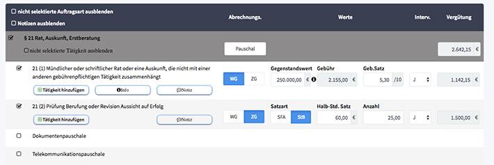 "Auszug aus circula-Web-App ""Auftragskalkulation"""