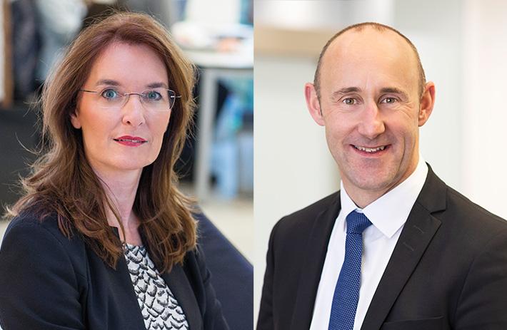 Claus Reder, Vorstand der VR-Bank Würzburg und Leiter der Firmenkundenabteilung; LSWB-Vorstandsmitglied Sabine Wirsching