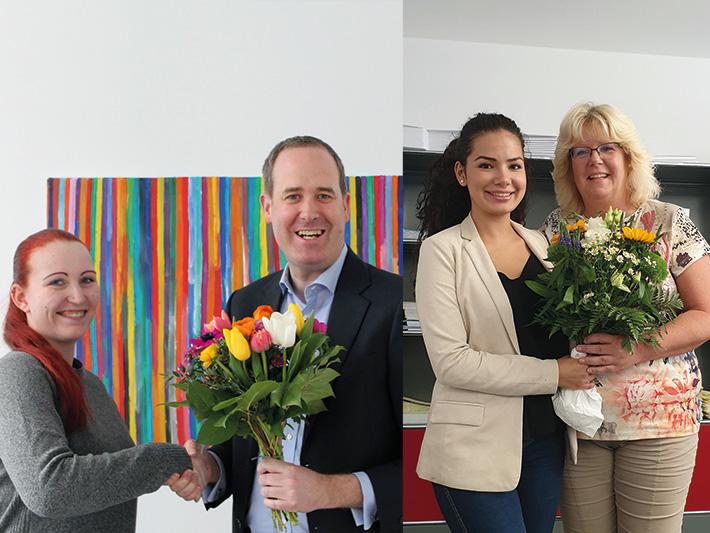 HGF Steffen Jahn gratuliert der Auszubildenden Sarah Prestel in München und die Abteilungsleiterin der Akademie, Jeanette Stock, der Nürnberger Auszubildenden Selin Kaplan.