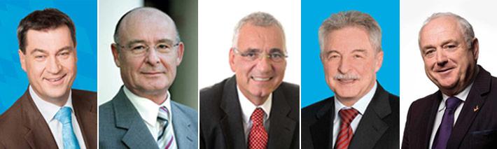 Gratulanten (v. l.): Markus Söder, Manfred Klar, Hartmut Schwab, Manfred Dehler und Harald Elster.