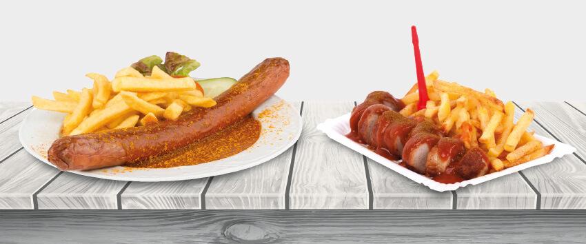 Wurst ist nicht gleich Wurst, das gilt auch bei der Mehrwertsteuer:  Die Currywurst im Wirtshaus wird mit 19 %  Mehrwertsteuer veranlagt, die To-Go-Variante nur mit 7 %.; Foto: klyaksun, Christian Schwier, Robert Neumann/adobe stock