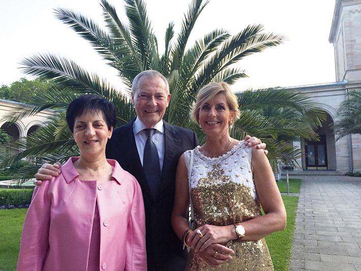 Sommerliche Atmosphäre (v. l.): LSWB-Vizepräsidentin Ingrid Menges, Peter Küffner und LSWB-Vizepräsidentin Sabine Dietloff.
